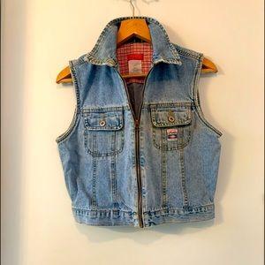 Vintage Esprit denim vest sz L zip up